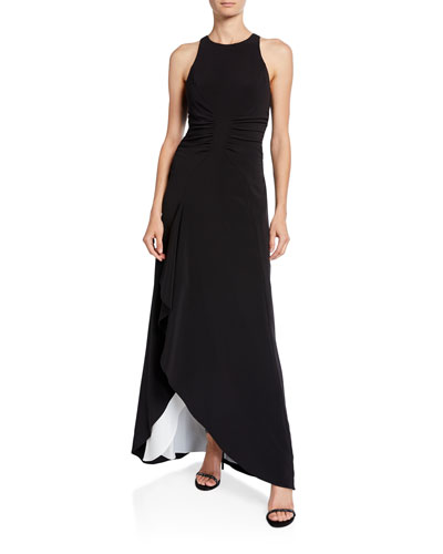 High-Neck Sleeveless Open Drape Gown with Ruching