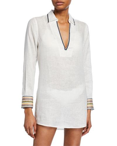 Embroidered Linen Beach Coverup Shirt