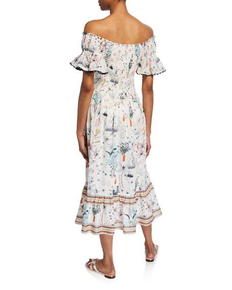 6a7f426372 Tory Burch Meadow Folly Off-the-Shoulder Floral Midi Dress