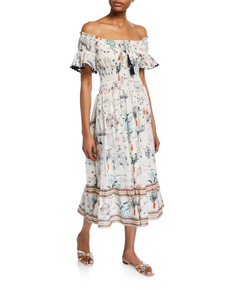 6fe45cafcd4 Tory Burch Meadow Folly Off-the-Shoulder Floral Midi Dress