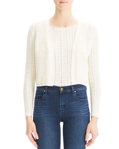 Open-Front Cropped Crochet Cardigan