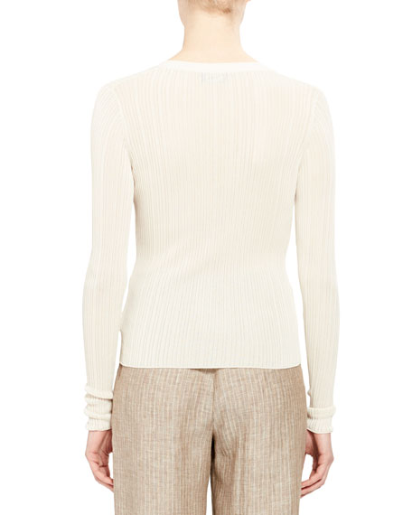 V-Neck Button-Front Pointelle Cardigan