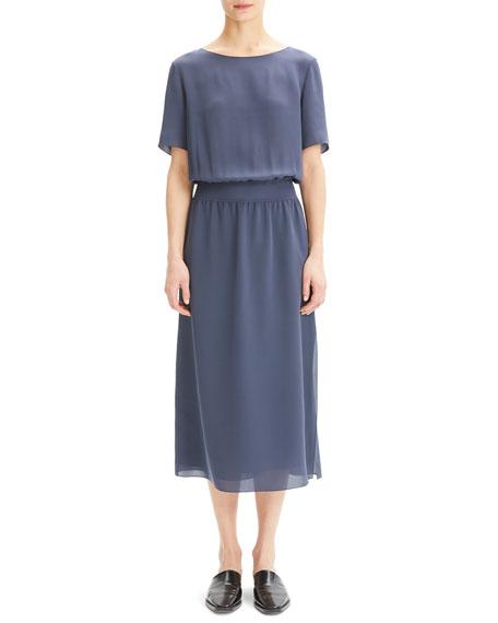 Boat-Neck Short-Sleeve Silk Chiffon Midi Dress w/ Rib Waistband