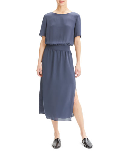 7c503f02 Boat-Neck Short-Sleeve Silk Chiffon Midi Dress w/ Rib Waistband Quick Look.  Theory