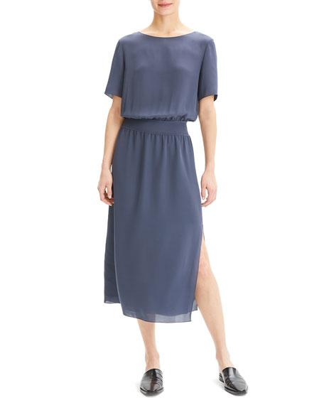 25a03f350ec2c0 Theory Boat-Neck Short-Sleeve Silk Chiffon Midi Dress w/ Rib Waistband