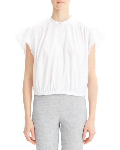 Short-Sleeve Button-Down Shirred Yoke Top
