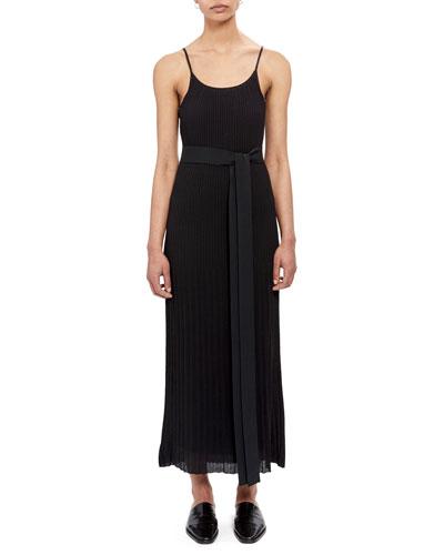 Pleated Tie-Waist Tank Dress