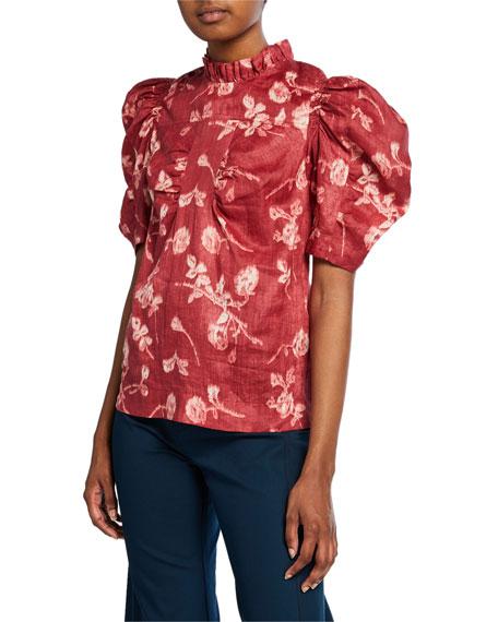 Monet Mock-Neck Puff-Sleeve Cotton Top