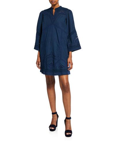 Agatha Eyelet V-Neck 3/4-Sleeve Shift Dress
