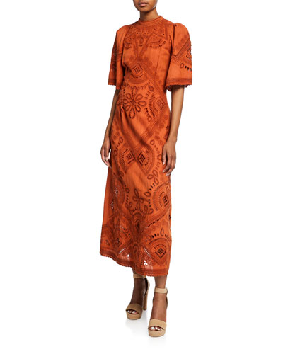 Agatha Short-Sleeve Eyelet Midi Dress