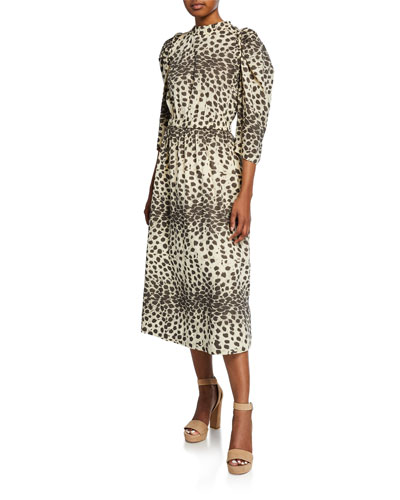 Leo Animal-Print Corded Button-Back Midi Dress