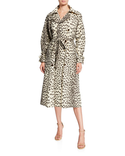 Leopard-Print Trench Coat