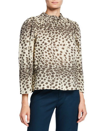Leopard-Print Long-Sleeve Corded Top