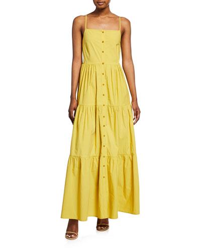 Luna Button-Front Sleeveless Tiered Maxi Dress