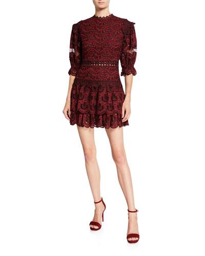 Rosalie High-Neck Lace Mini Dress