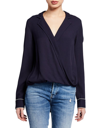 Dean Front-Drape Collared Blouse