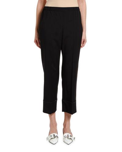 Cropped Jeweled Cool Wool Pajama Pants