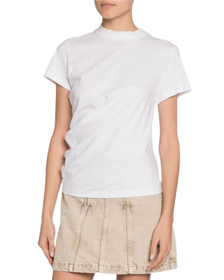 Crewneck Short-Sleeve Twisted Jersey Cotton Tee