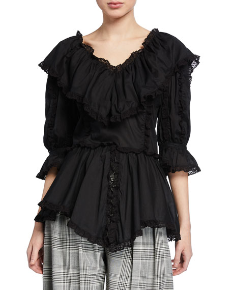 3/4-Sleeve Ruffle Top with Lace