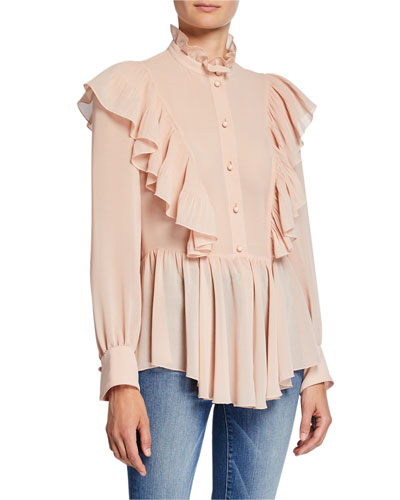 fc9a8d51445305 Mock-Neck Long-Sleeve Button-Down Ruffle Top Quick Look. See by Chloe