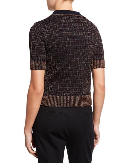 Metallic Check Jacquard Short-Sleeve Stretch Viscose Top