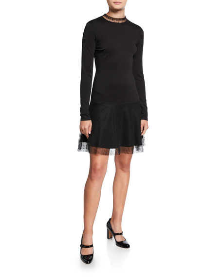 Long-Sleeve Ponte Jersey Cocktail Dress with d'Esprit Trim