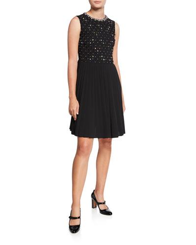 Rhinestone Embroidered Crewneck Sleeveless Georgette Dress