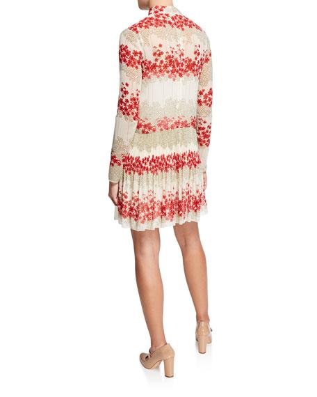 Dreaming Peony Print Tie-Neck Long-Sleeve Muslin Dress