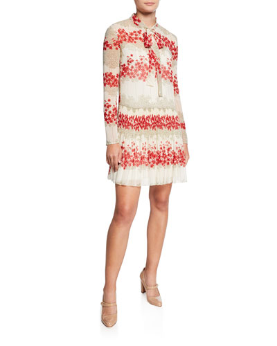 1878a204c8c Dreaming Peony Print Tie-Neck Long-Sleeve Muslin Dress Quick Look.  REDValentino