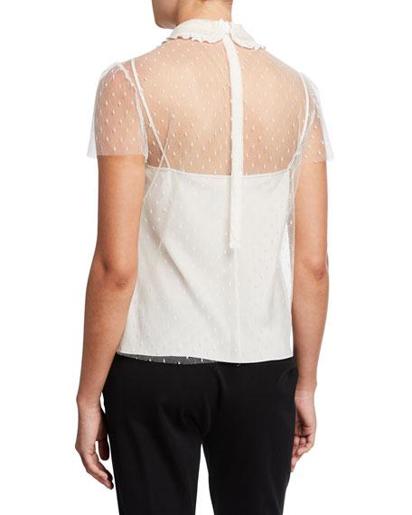 Peter Pan Collar Short-Sleeve Point d'Esprit Top