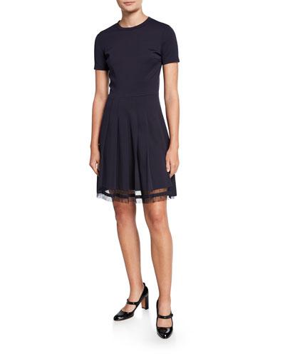 35633cf8aa Short-Sleeve Knit Point d'Espirit Dress Quick Look. REDValentino