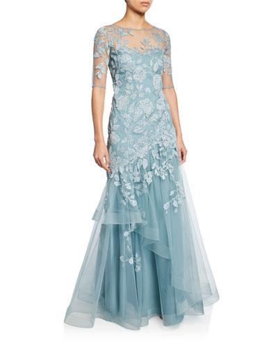 Bateau-Neck Elbow-Sleeve Tulle Gown w/ Lace Applique