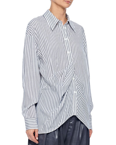 Soft Stripe Shirt with Draped Front Detail