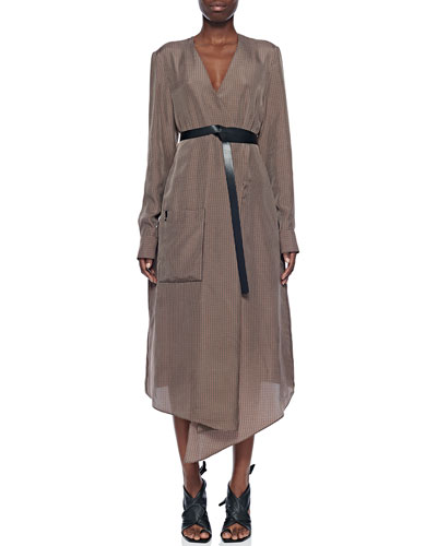 Walden Long-Sleeve Midi Wrap Dress