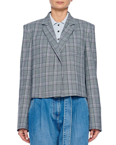 James Menswear Check Button-Front Cropped Blazer