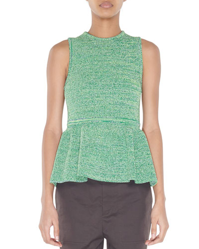 Sleeveless Tech Tweedy Sculpted Peplum Sweater