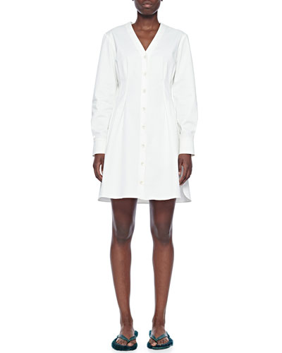 Dominic Button-Front Twill Shirtdress