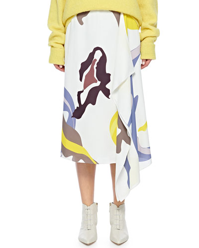 Ant Farm Printed Asymmetrical Midi Skirt