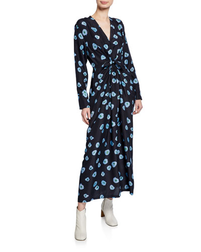Darka Tie-Front Floral-Print Long-Sleeve Dress
