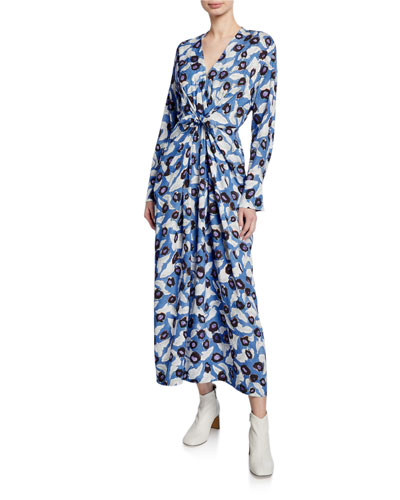 Darka Tie-Front Floral Long-Sleeve Dress