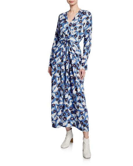 Darka Tie-Front Floral Long-Sleeve Dress