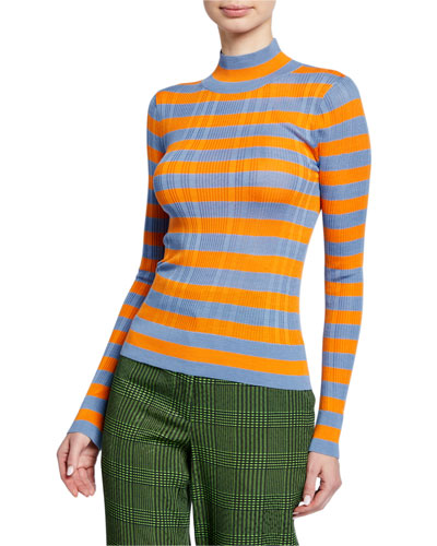 Kamia Striped Turtleneck Ribbed Sweater