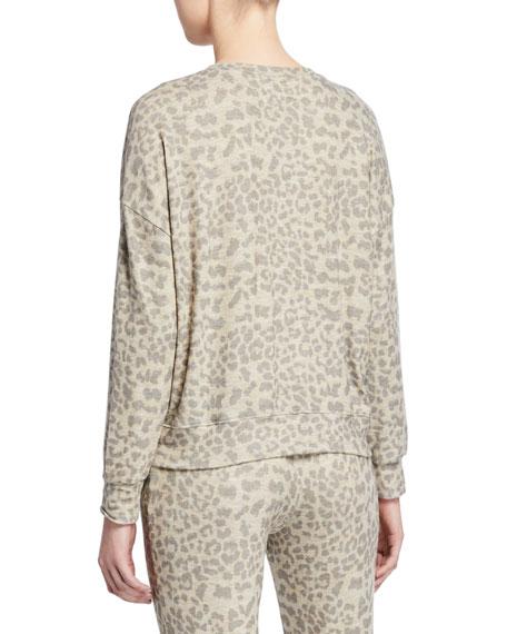 Leopard-Print Drapey Crewneck Sweatshirt
