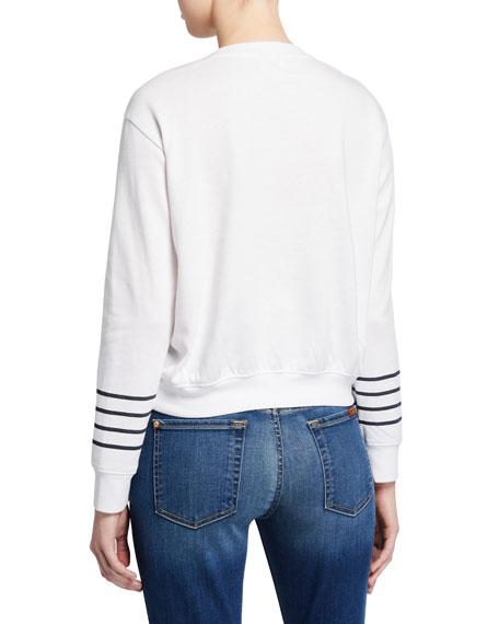 Striped Blouson Cropped Sweatshirt