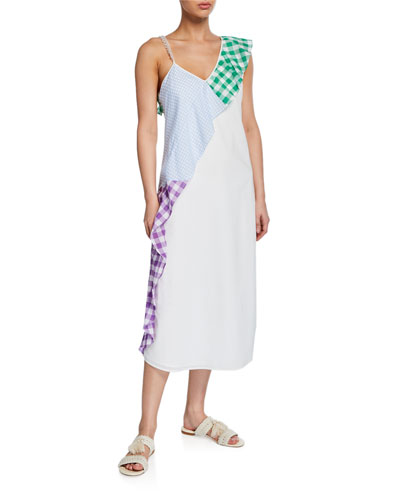 East End Gingham Ruffle Coverup Dress