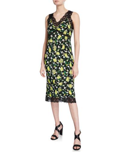 d5efc1a412df Issey Printed Crepe De Chine Slip Dress w/ Lace