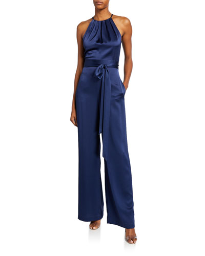 Constantina High-Neck Sleeveless Satin Jumpsuit