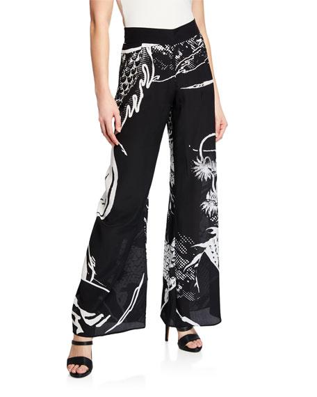 Dragon-Print Wide-Leg Silk Coverup Pants
