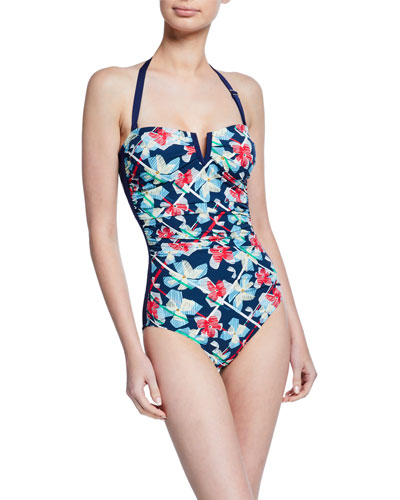 Positano Printed Bandeau One-Piece Swimsuit