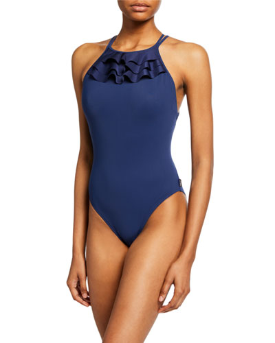 Verona Ruffle High-Neck One-Piece Swimsuit